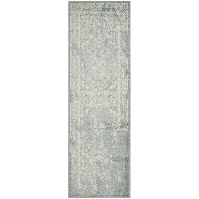 Arbus Slate/Ivory Area Rug Rug Size: Runner 26 x 8