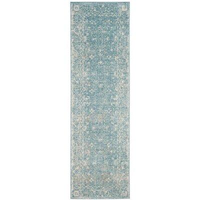 Melia Light Blue/Ivory Area Rug Rug Size: Runner 22 x 7