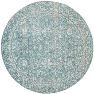 Melia Light Blue/Ivory Area Rug Rug Size: Round 67