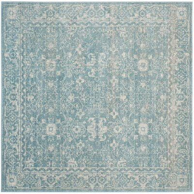 Melia Light Blue/Ivory Area Rug Rug Size: Square 67