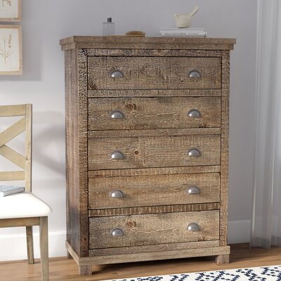 Castagnier 5 Drawer Chest Color: Weathered Grey