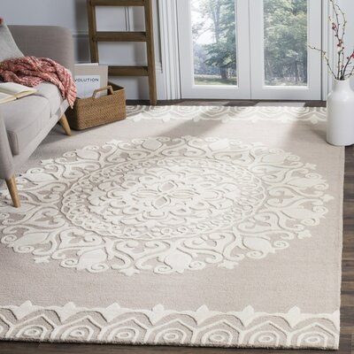 Leonard Hand-Tufted Beige/Ivory Area Rug Rug Size: Rectangle 6 x 9