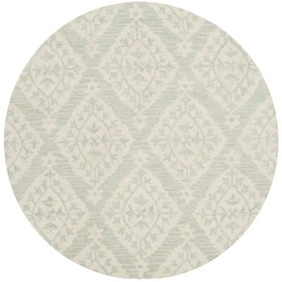 Peltz Hand-Tufted Blue/Gray Area Rug Rug Size: Round 5 x 5