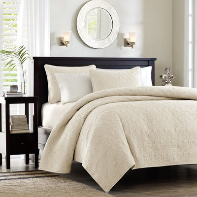 Emy Coverlet Set Size: Full / Queen, Color: Ivory