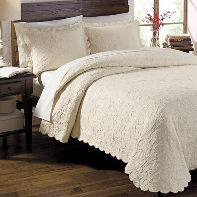 Andlau Coverlet Size: Full, Color: Ecru
