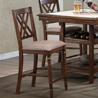 Lia 25.5 Bar Stool (Set of 2) Finish: Medium Brown