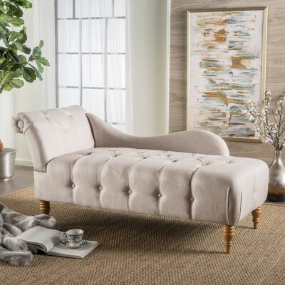 Orlowski Fabric Tufted Chaise Lounge Upholstery: Beige