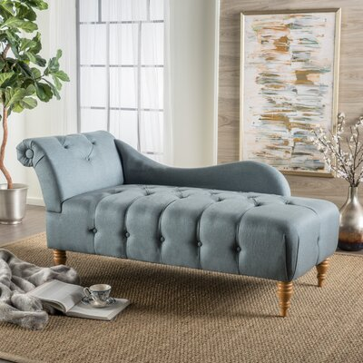 Orlowski Fabric Tufted Chaise Lounge Upholstery: Blue Gray