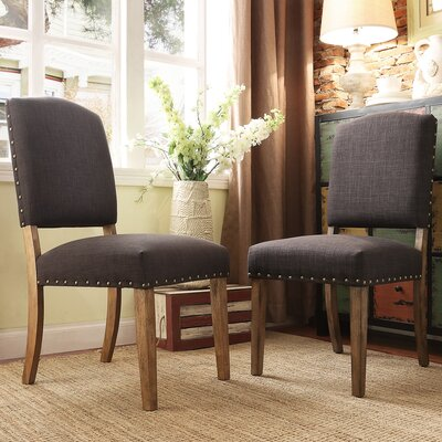 Pompon Nailhead Side Chair Upholstery: Linen - Dark Gray
