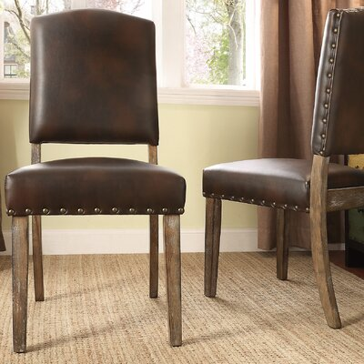 Pompon Nailhead Side Chair Upholstery: Bonded Leather - Brown