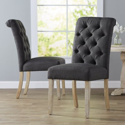 Pompon Tufted Side Chair Upholstery Type - Color: Linen - Dark Gray