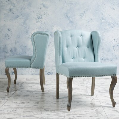 Soan Wing back Chair Upholstery: Light Blue