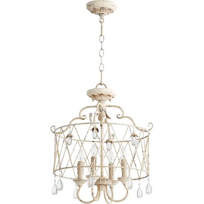 Jaune 4-Light Metal Candle-Style Chandelier Finish: Persian White