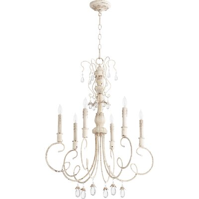Jaune 6-Light Candle-Style Chandelier Finish: Persian White