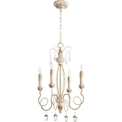Jaune 4-Light Candle-Style Chandelier Finish: Persian White