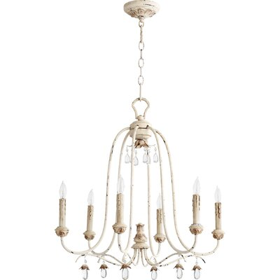 Jaune 6-Light Metal Candle-Style Chandelier Finish: Persian White