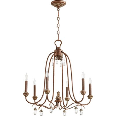Jaune 6-Light Metal Candle-Style Chandelier Finish: Vintage Copper