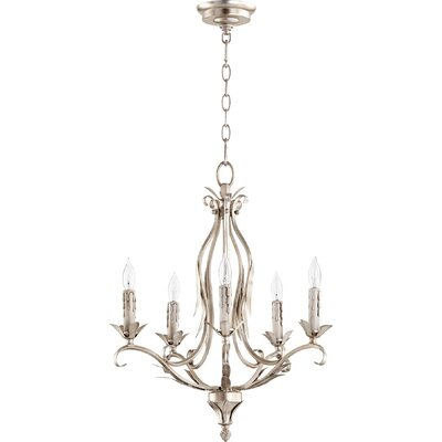 Harnois 5-Light Candle-Style Chandelier Finish: Aged Silver Leaf