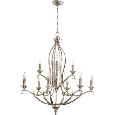 Harnois 9-Light Candle-Style Chandelier Finish: Aged Silver Leaf