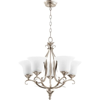 Harnois 5-Light Shaded Chandelier Finish: Aged Silver Leaf