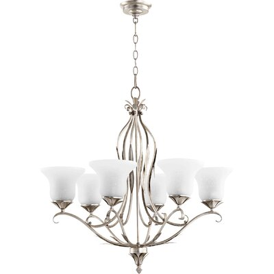 Harnois 6-Light Shaded Chandelier Finish: Aged Silver Leaf