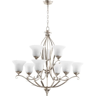 Harnois 9-Light Shaded Chandelier Finish: Aged Silver Leaf
