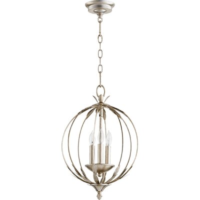 Harnois 3-Light Globe Pendant Finish: Aged Silver Leaf