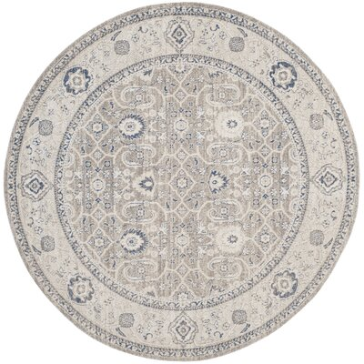 Palaiseur Taupe/Ivory Area Rug Rug Size: Round 67