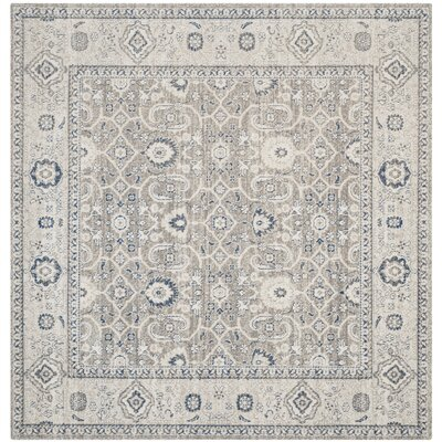 Palaiseur Cotton Taupe/Ivory Area Rug Rug Size: Square 67 x 67