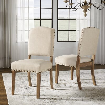 Pompon Nailhead Side Chair Upholstery: Linen - Beige