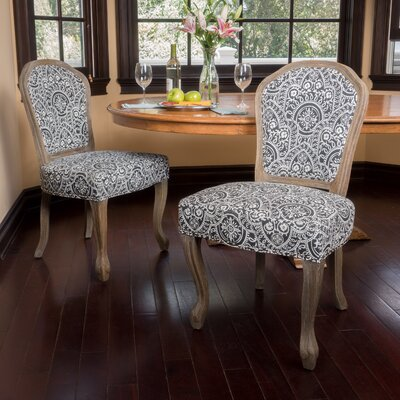 Ouellet Dining Chair Upholstery: Black/White