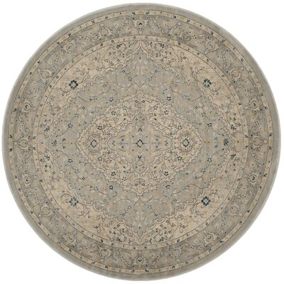 Montelimar Light Gray/Cream Area Rug Rug Size: Round 67