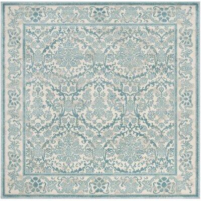 Montelimar Ivory/Light Blue Area Rug Rug Size: Square 67
