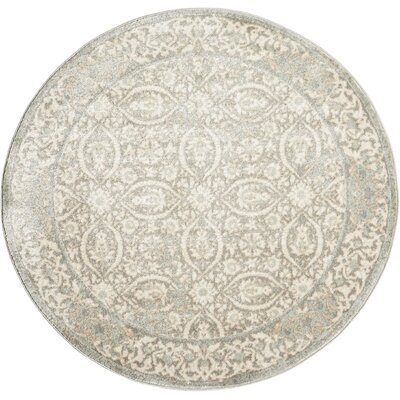 Angelique Gray and Ivory Area Rug Rug Size: Round 710