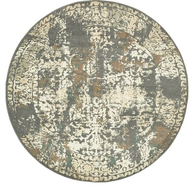 Forcalquier Gray Indoor Area Rug Rug Size: Round 8
