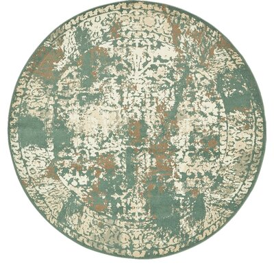 Forcalquier Green Indoor Area Rug Rug Size: Round 8