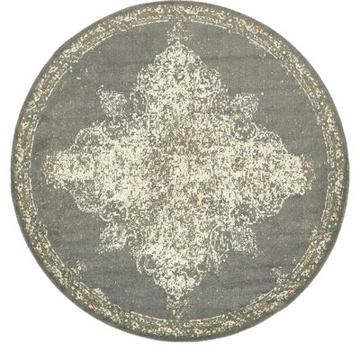 Forcalquier Rectangle Gray Area Rug Rug Size: Round 8