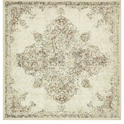 Forcalquier Rectangle Cream Area Rug Rug Size: Square 8
