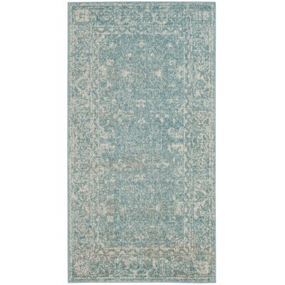 Melia Light Blue/Ivory Area Rug Rug Size: Runner 22 x 5