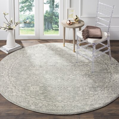 Montelimar Silver/Ivory Area Rug Rug Size: Round 9