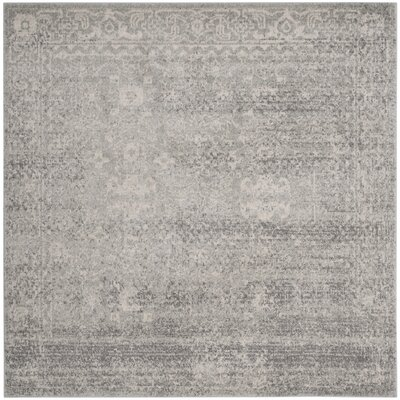 Montelimar Silver/Ivory Area Rug Rug Size: Square 9