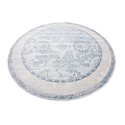 Ouellette Light Blue Area Rug Rug Size: Round 6