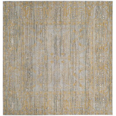 Menton Gray / Gold Area Rug Rug Size: Square 67