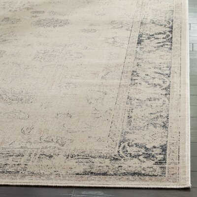 Malakoff  Cream/Blue Area Rug Rug Size: Rectangle 53 x 76