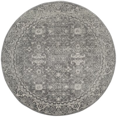 Montelimar Gray/Ivory Area Rug Rug Size: Round 51