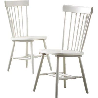Saint-Pierre Solid Wood Dining Chair Finish: White