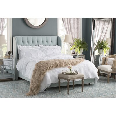 Alcantara Velvet Diamond Tufted Upholstered Wingback Panel Bed Size: Full, Color: Velvet - Pool