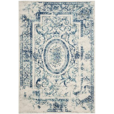 Plaisir Ivory/Blue Area Rug Rug Size: Rectangle 51 x 76