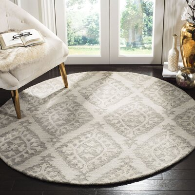 Peltz Hand-Tufted Gray Area Rug Rug Size: Round 5 x 5