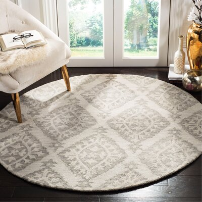 Peltz Hand-Tufted Gray Area Rug Rug Size: Round 5